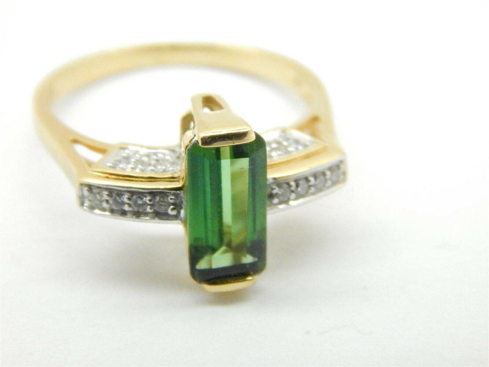 e321fadbf Beautiful 18k gold Emerald Cut Green Tourmaline Solitaire Ring 2 TCW Size  7.75