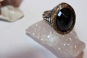 Objekte Nach 1945 UnermüDlich Silberring Männerring Siegelring Sterlingsilber 925 Handarbeit Schwarz Granat Blut NäHren Und Geist Einstellen Ringe