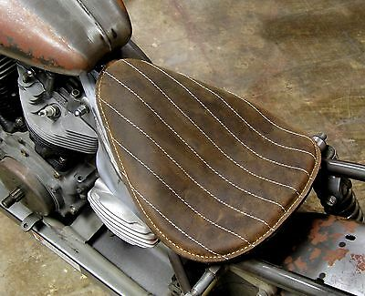 HI-BACK BROWN THIN RIBBED SOLO SEAT LARGE GENUINE LEATHER HARLEY BOBBER CHOPPER
