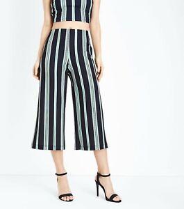 New Women Black,Red,Green,Purple /& White Stripe Crop Wide Leg Trousers Size 8-16