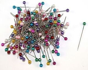 200PC-LARGE-Pearl-Headed-Pins-35mm-mixed-Colours-Dress-Making-Weddings-Florists