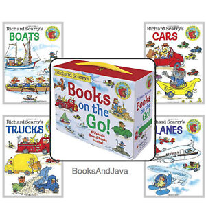 Richard-Scarry-039-s-Books-on-the-Go-Cars-Trucks-Boats-by-Richard-Scarry-Box-Set