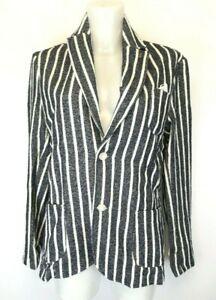 H32) Recycled Art World Damen Blazer Jacke Gr.48 4XL Neu Gestreift