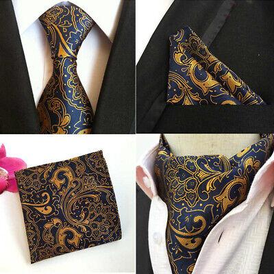 Fashion Floral Paisley Men Silk Cravat Ascot Tie Handkerchief Set #RF2