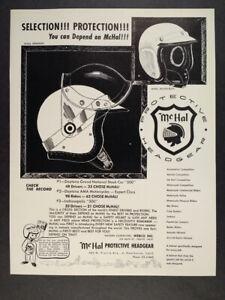 1963 McHal Speedway & Akusta-Bloc Racing Helmets vintage print Ad