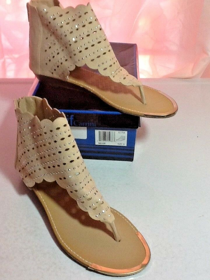 if Carrini Women's Sandals Ankle New Cuff Beige Sz 9 New Ankle 489c15