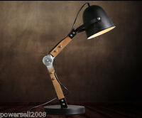 Modern Style Black Diameter 20CM Iron+Wood Creative Bedroom Bedside Table Lamp