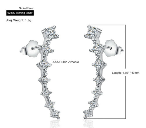925 Sterling Silver Ear Crawler Climber Round Stone Stud Earrings Nickel Free