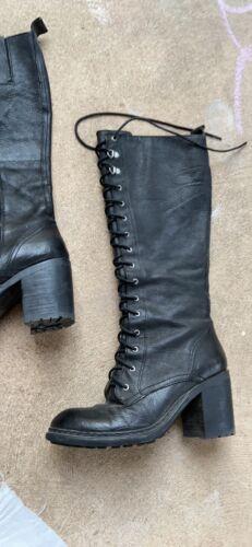 Nine West Vintage Black Lace Up Valory Knee High C