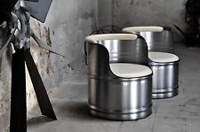 Metall Design Sessel aus 200l Fass Ölfass gebürstet & Klar pulverbeschichtet
