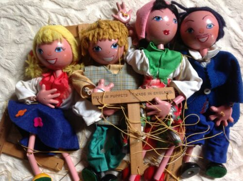 Marionette Vintage Pelham Puppets Marionette Mixed Lot Of 4 1950's Made In England 9/10