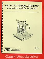 Rockwell Delta 10 Radial Arm Saw Owners Amp Parts Manual 0802