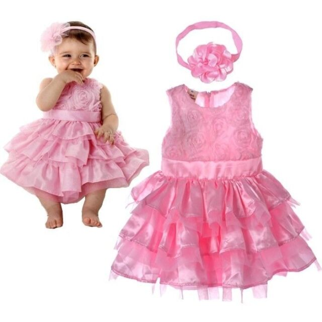 Pink Rose Silk Dress Easter Flower Baby Girls Dress Princess Wedding + Headband