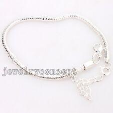 5pcs Alloy Silvery Snake Chain Charms Bracelets 25cm Fit European Style Beads J