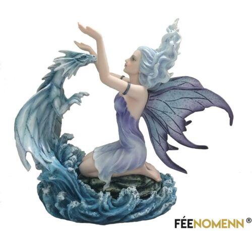 H27 x L30cm Statuette Fée Edana et son Dragon