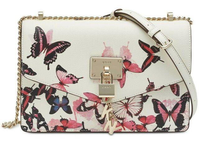 DKNY Elissa Leather Butterfly Print Satchel Shoulder Bag Padlock Logo Charm NEW