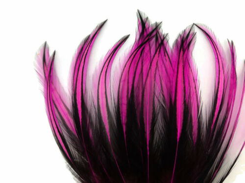 Hot Pink Dyed BLW Laced Long Rooster Cape Whiting Farms Feathers 10 Pieces