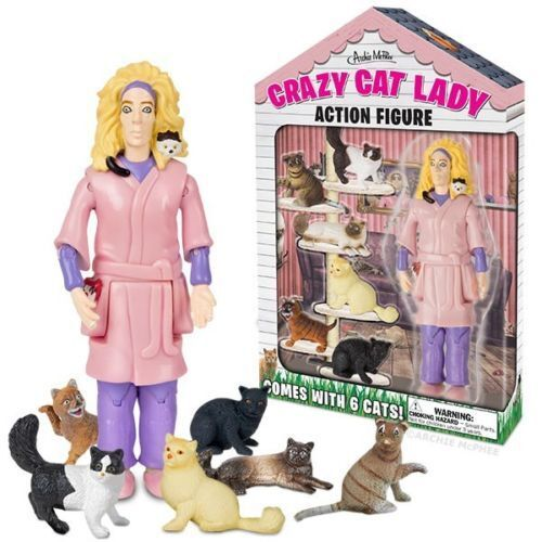 New Accoutrements Crazy Cat Lady Action Figure Set w// 6 Cats Kittens Lover Gift