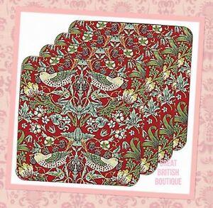 Gorgeous-William-Morris-Design-Four-Coasters-Set-034-Strawberry-Thief-034-Boxed