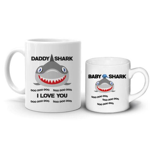 Papa requin bébé requin 2 Set de Boire Gobelets Tasses café thé cadeau D1