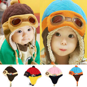 6da358cae8c Toddlers Cool Baby Boy Girl Kids Infant Winter Pilot Warm Cap Beanie ...