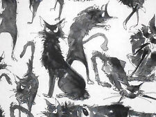 1YD Halloween GHASTLIES SEBASTIAN BLACK CATS DE7159 White A Henry Fabric
