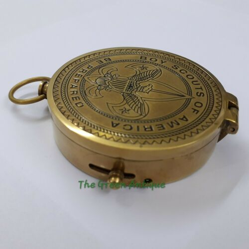 Antique Brass Lid Compass Boy Scouts Maritime Collectible Gift