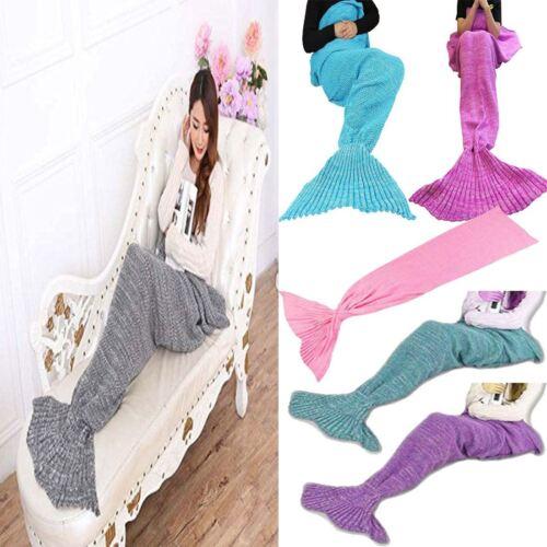 Ladies Mermaid Tail Blanket Womens Handmade Knit Dress Crocheted Lapghan Rug