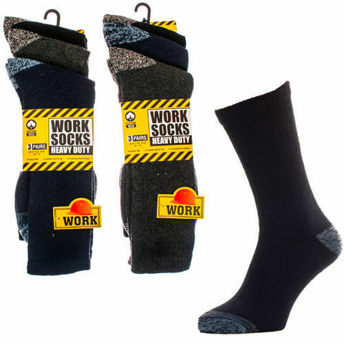 12 Paia Da Uomo ULTIMATE Lavoro Boot Sock Taglia 6-11 Nero Suola Cuscino-Blu Scuro-Grigio