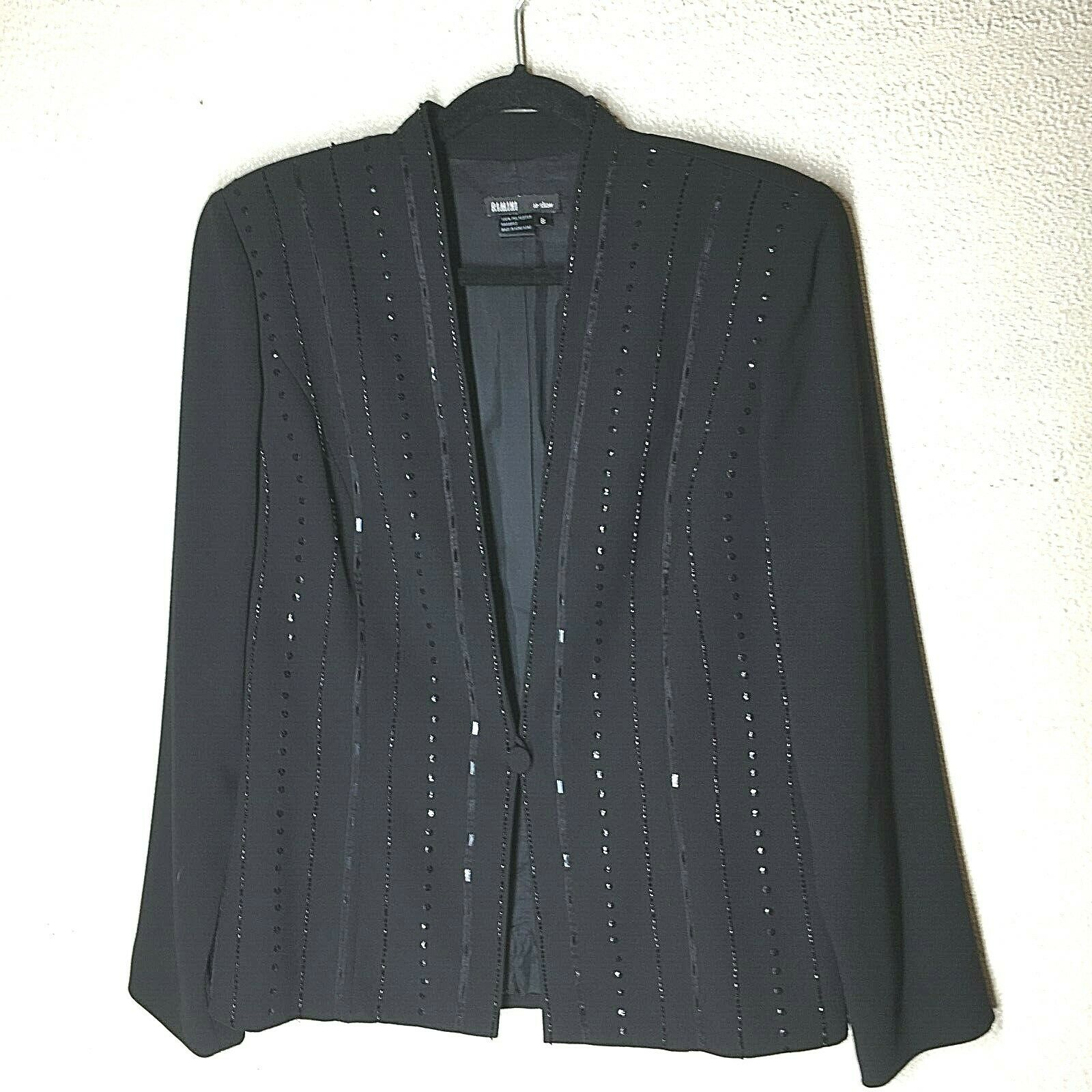 Rimini Black Embellished Evening Jacket Womens Size 8 Sequin Accents Fully Lined