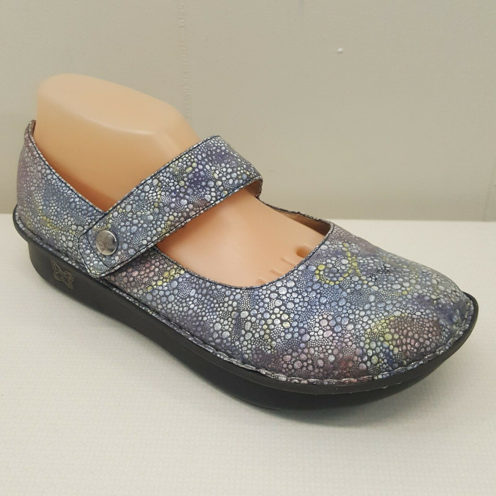 Alegria PAL 335 shoes 11 Mary Janes 41 bluee Bubbles Iridescent Metallic Leather