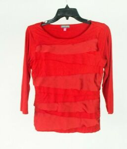 Vince Camuto Red Layered Ruffle Front Blouse Top Size Small