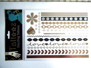 Metallic-Temporary-Tattoos-Gold-Silver-Bands-Love-Hearts-Flowers-Leaves-2-Sheets