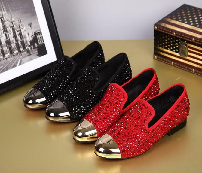Uomo Rivet Rhinestones Pointed Dress Toe Pelle Fashion Forma Dress Pointed Business Shoes 47ba98