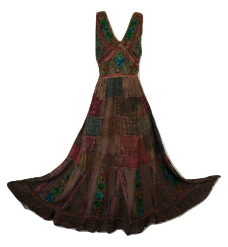Plus Size Patchwork Dress Maxi Boho Hippy Festival Hand Embroidered 18 20 22 24