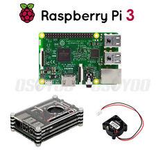 Raspberry Pi 3 Model B Motherboard + Black Shell Case Box+Mini Fan Full Kit