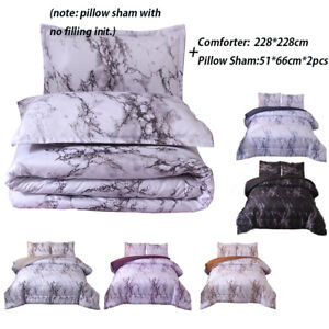 Marble-Comforter-Set-Quilt-Pillowcases-Queen-Bedding-Goose-Down-Alternative
