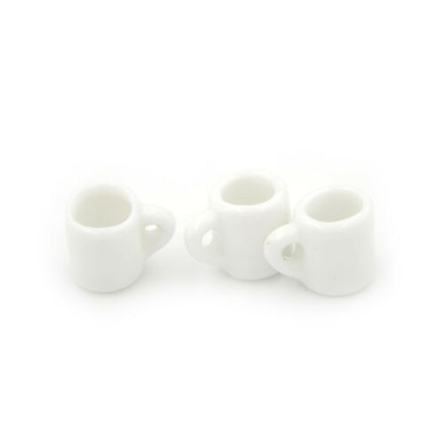 3pcs Dollhouse Miniature Tea Mugs Cup with Handle Kitchen Cafe Drink SuppSN