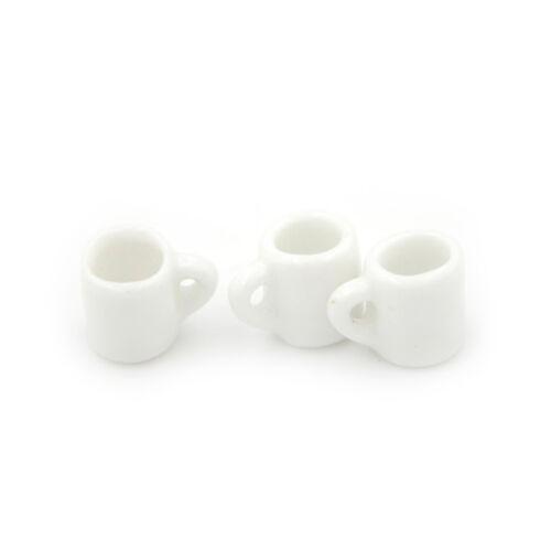 3pcs Dollhouse Miniature Tè Tazze Tazza con manico da cucina Cafe DRINK SUPPL ES