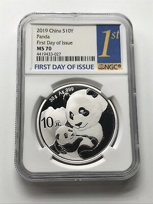 NGC MS70 2019 Silver Panda Coin 30gram First Day Issue /& Silk Bag