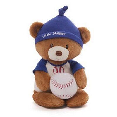 "RETIRED BABY GUND BEAR - 11"" LITTLE SLUGGER  TEDDY BEAR + PLUSH BASEBALL RATTLE"
