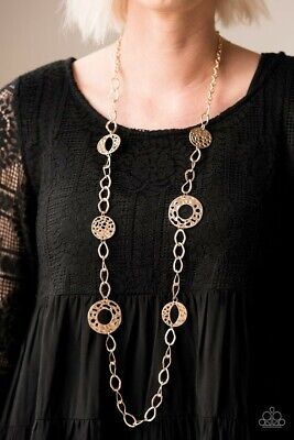 Paparazzi Gold Chain Hammered Circles Necklace Women S New Fashion Accessories Ebay