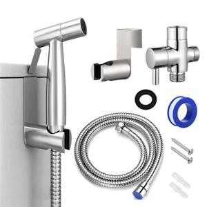Silver Handheld Toilet Bidet Sprayer Kit Seat Attachment Dual Nozzle Elongated