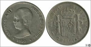 Spain 5 Pesetas 1890 Pgm Ag RC / VG Alfonso XIII 00144