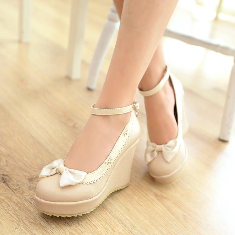 Womens Cute Platform Pumps Wedge High Heels Bowknot Ankle Strap shoes Sandals