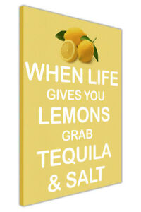 Lemon And Tequila Quote On Framed Canvas Pictures City Oil