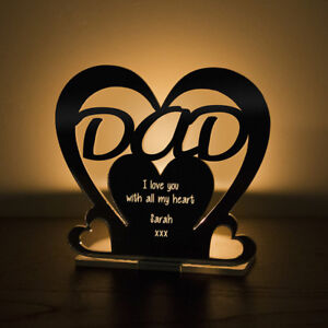 Personalised-Tea-Light-Heart-Candle-Holder-For-DAD-Birthday-Father-039-s-Day-Gift