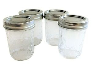 Quilted Crystal Style-Set of 4 Two 4 oz. Ball Mason Jelly Jars-Two 8 oz