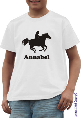 Personalised Equestrian Horse Riding T-Shirt Ages 1-13 Great for Stables or Club