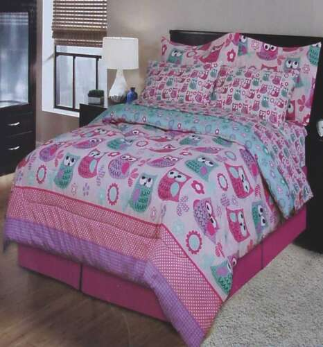 NEW POLKA DOT OWLS PINK FULL COMFORTER SHEETS SHAMS BEDSKIRT 8PC BEDDING SET